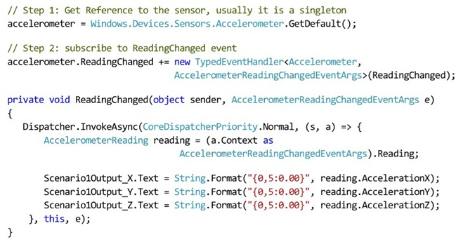 Windows 8 Accelerometer sample code