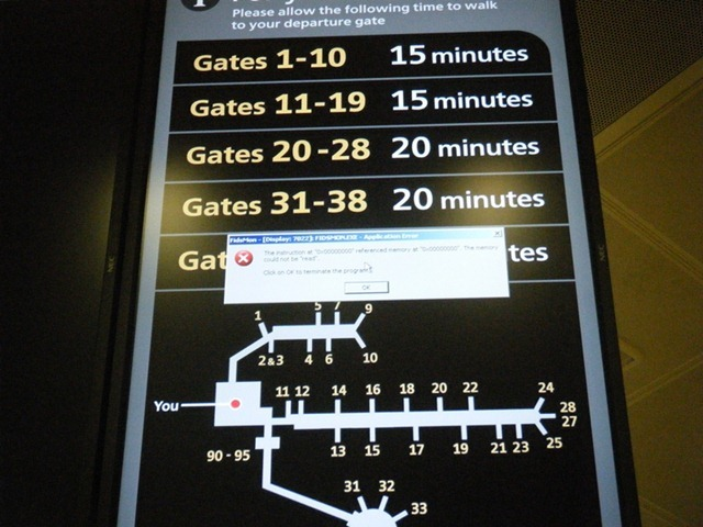 Gatwick airport error screen