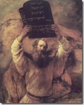 Moses (brings 10 testaments), painting by Rembrandt